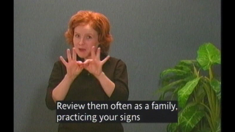 Still image from Family Sign Language And Informational Video Series (Lessons 5-7)