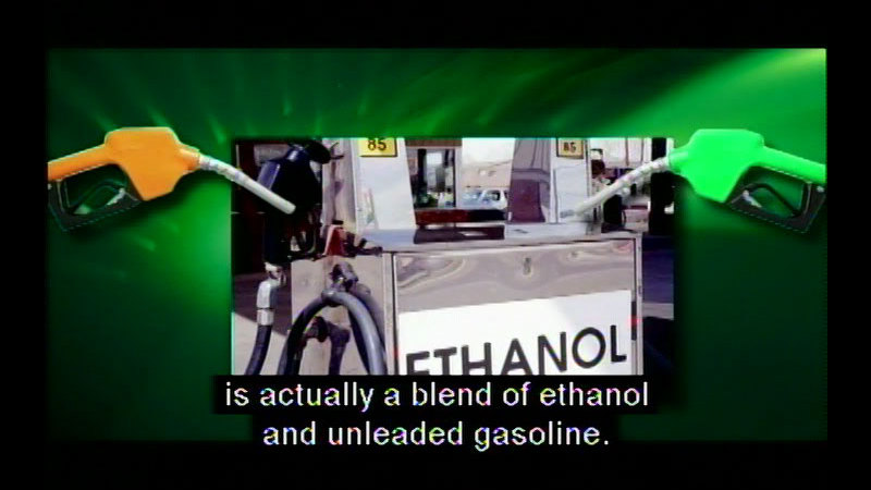 """Gasoline pump labelled """"Ethanol"""" with two gas pumps. Caption: is actually a blend of ethanol and unleaded gasoline."""
