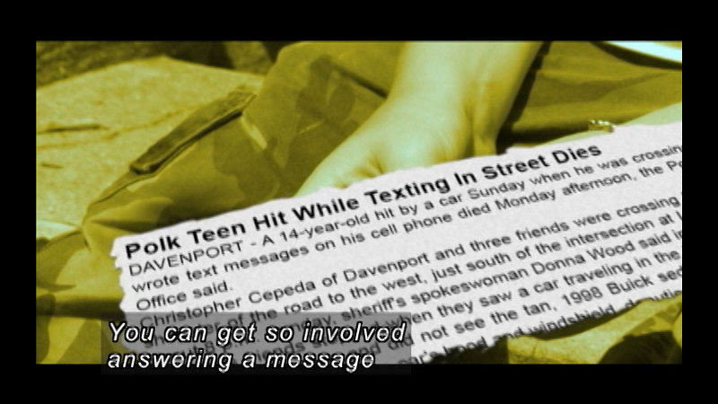 Still image from: B Careful When U Txt: The Dangers Of Texting And Sexting