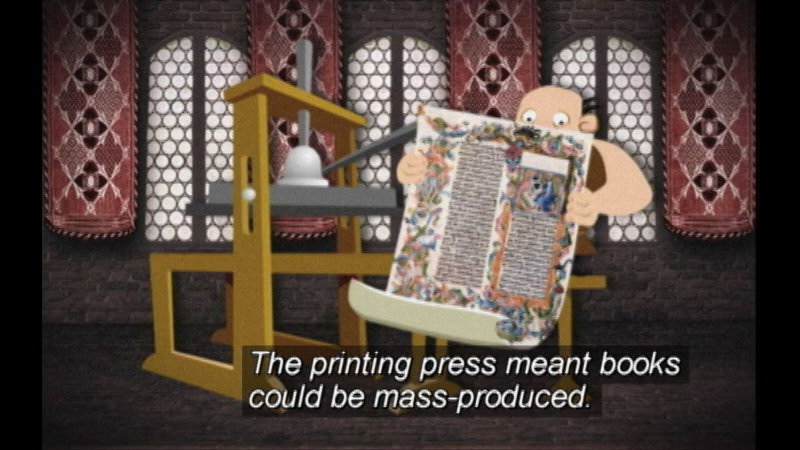 Illustrated man reading large poster. Caption: The printing press meant books could be mass-produced.