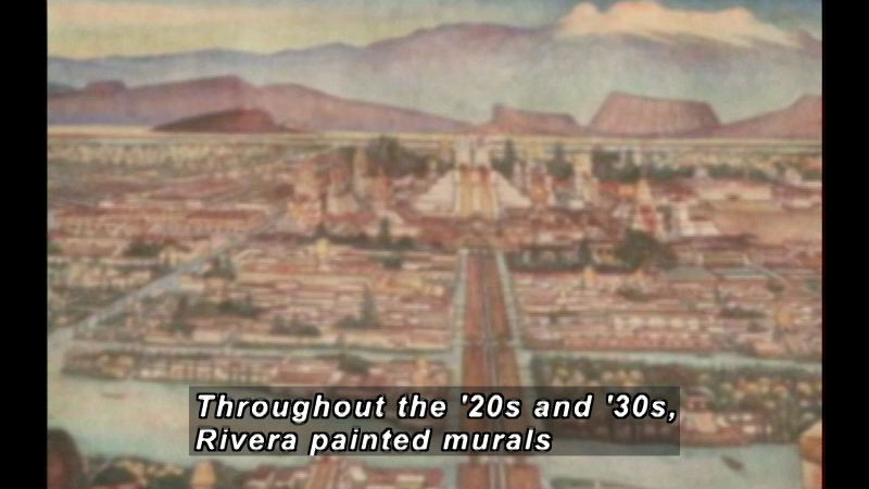 Painting of a densely populated city with waterways running between sections of the city. Caption: Throughout the '20s and '30s, Rivera painted murals