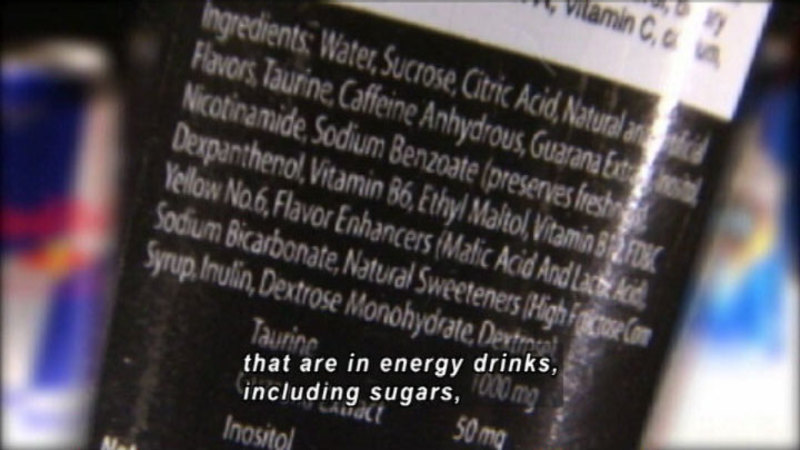 Still image from: Buzz In A Bottle: The Dangers Of Caffeine-Spiked Energy Drinks