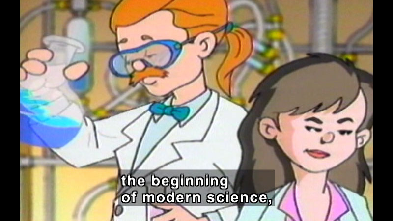 Cartoon of two people in lab coast, one holding a beaker with blue liquid. Caption: the beginning of modern science,