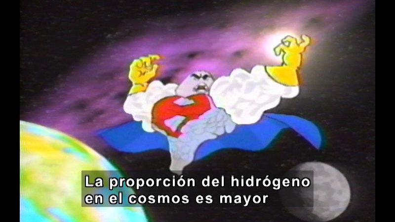 Cartoon of a superhero flying above Earth. Spanish captions.