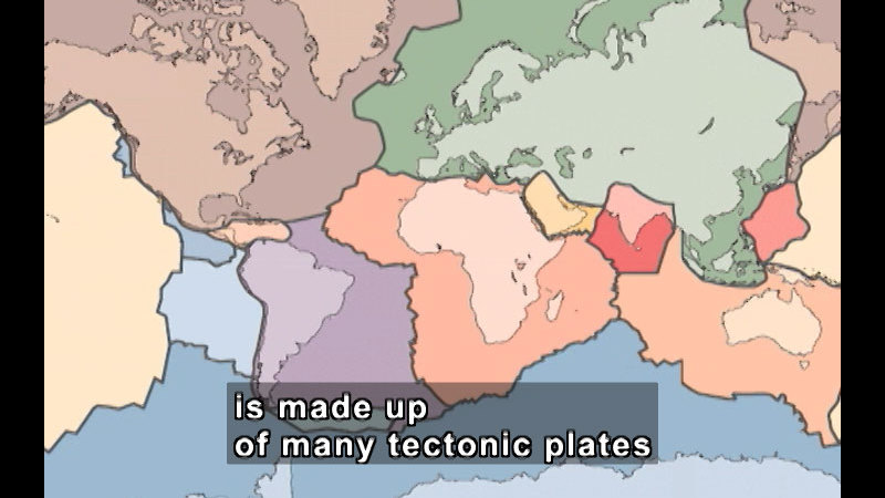 Map of the Earth with the continents and underlying tectonic plates outlined. Caption: is made up of many tectonic plates