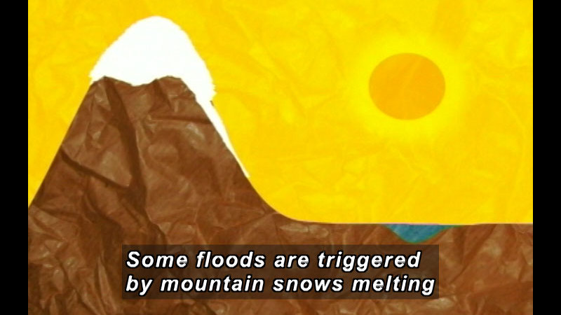 Illustration of a mountain with snow on the peak starting to melt down one side of the mountain. Caption: Some floods are triggered by mountain snows melting