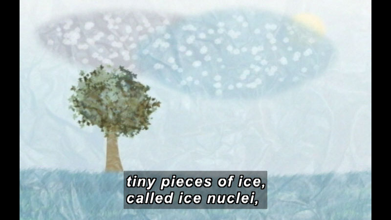 Illustration of a cloud with ice particles floating above a frozen landscape. Caption: tiny pieces of ice, called ice nuclei,