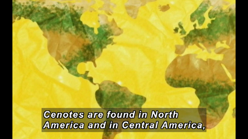 Illustration of a map of the world. Caption: Cenotes are found in North America and Central America,
