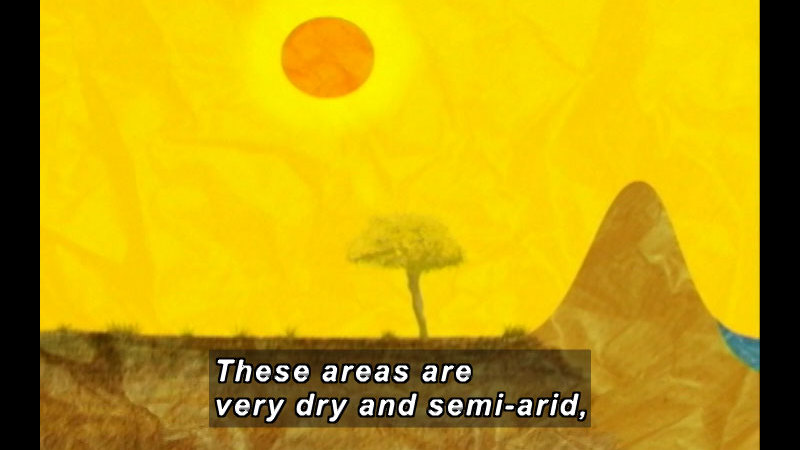 Illustration of a dry, brown landscape and an orange sun. Caption: These areas are very dry and semi-arid,