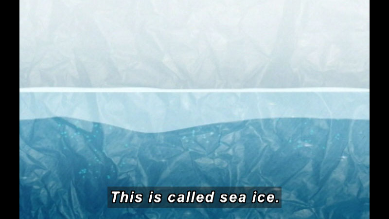 Image of a layer of ice above liquid water. Caption: This is called sea ice.