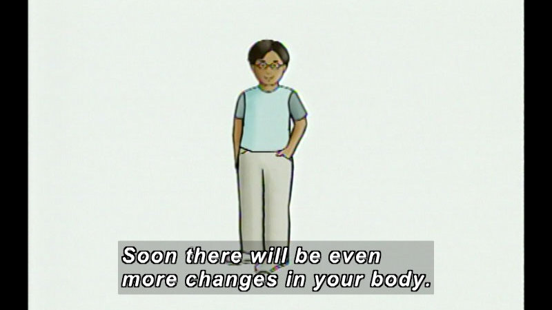 Illustration of a pre-teen boy. Caption: Soon there will be even more changes in your body.