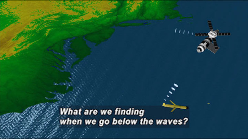 Illustration of the northeast coast of North America and a yellow cylindrical sub with fins sending and receiving signals from an orbiting satellite. Caption: What are we finding when we go below the waves?