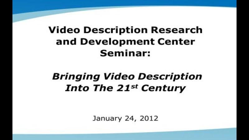 Still image from: VDRDC Webinar 1 - What Is Audio Description?