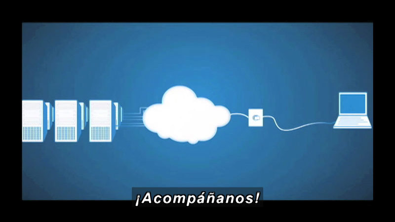 Diagram showing a single computer connected to a cloud which is then connected to a large group of computers. Spanish captions.