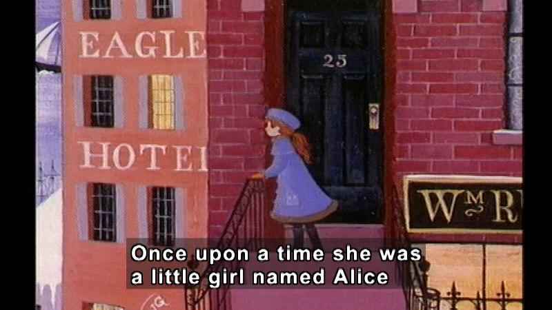 Illustration of a girl looking over a wrought iron handrail out onto a cityscape. Caption: Once upon a time she was a little girl named Alice