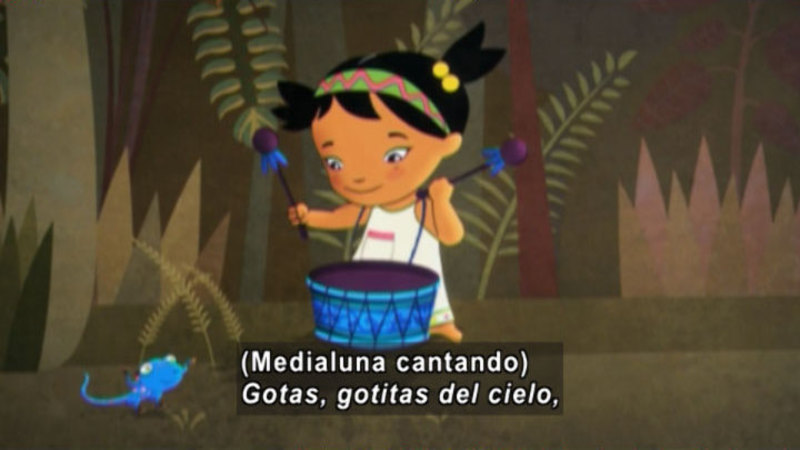Still image from: Medialuna and the Magic Nights: The Rain Drum (Spanish)