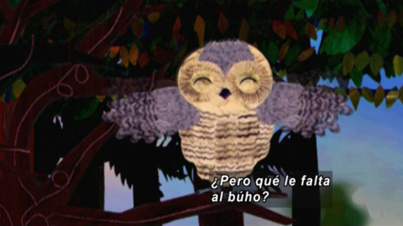 An illustration of an owl on a branch. Spanish captions.