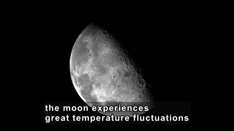 Close view of the moon partially illuminated. Caption: the moon experiences great temperature fluctuations