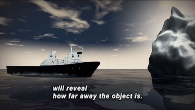 Graphic of a large ocean liner moving towards an iceberg. Caption: will reveal how far away the object is.