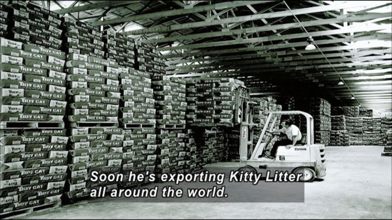 Forklift with a pallet carrying bags of Tidy Cat in a warehouse full of similar pallets. Caption: Soon he's exporting Kitty Litter all around the world.
