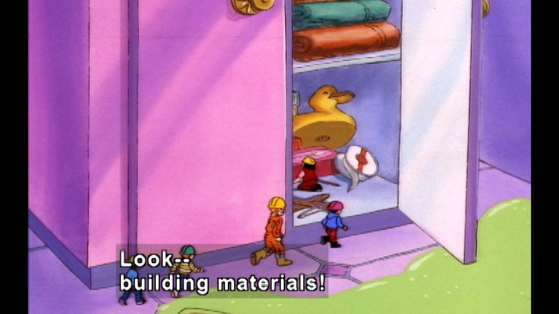 Students from the magic school bus shrunk to small size, climbing into an open cabinet. Caption: Look -- building materials!
