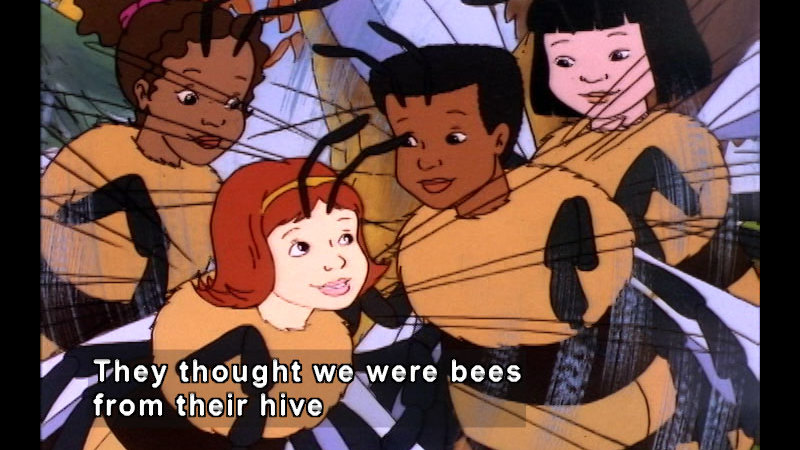 Cartoon characters with faces and the bodies of bees. Caption: They thought we were bees from their hive