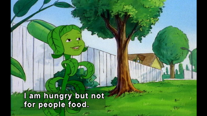 Cartoon of a plant with a face in a yard. Caption: I am hungry but not for people food.