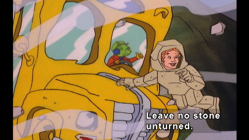Teacher outside the magic school bus wearing a rock outfit. Caption: Leave no stone unturned.