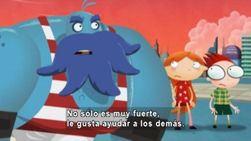 Cartoon of two people and a large alien. Spanish captions.