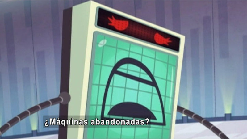 Cartoon of a robot. Spanish captions.