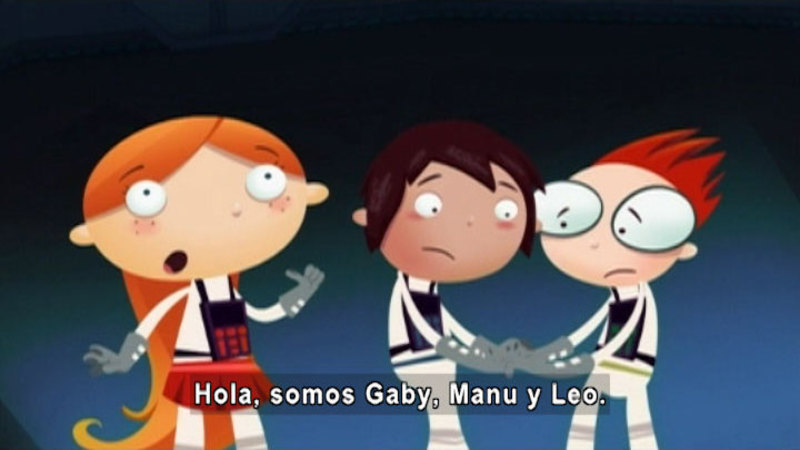 Cartoon of three people in space suits. Spanish captions.