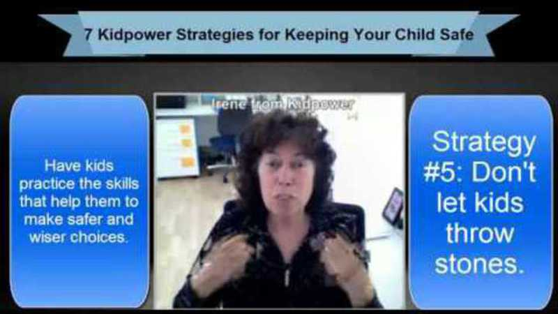 Still image from: Kidpower Strategy 5: Don't Let Kids Throw Stones