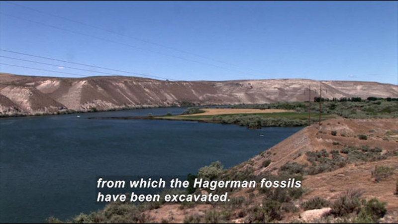 Sloped hills leading to a body of water. Caption: from which the Hagerman fossils have been excavated.