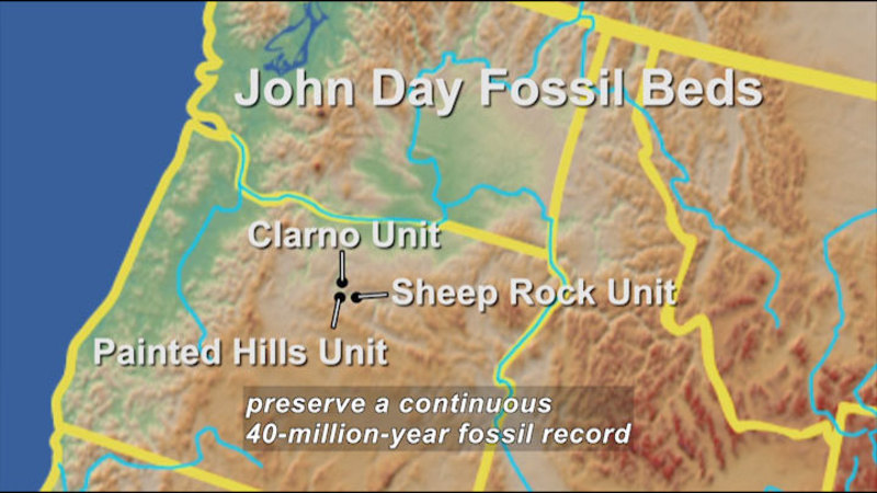 Map of the northwest United States showing John Day Fossil Beds in Washington, Idaho, and Montana. Clarno Unit, Sheep Rock Unit, and Painted Hills Unit are in Oregon. Caption: preserve a continuous 40-million-year fossil record