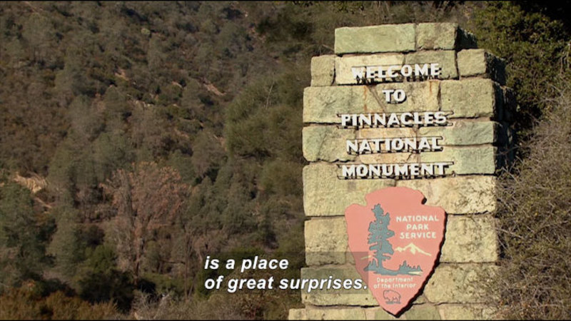 """Forested hillside with a sign """"Welcome to Pinnacles National Monument National Park Service Department of the Interior"""" Caption: is a place of great surprises."""