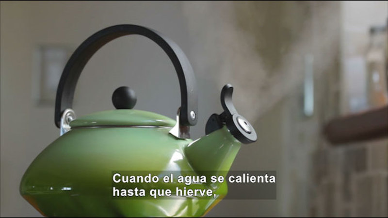 A steaming tea kettle. Spanish captions.