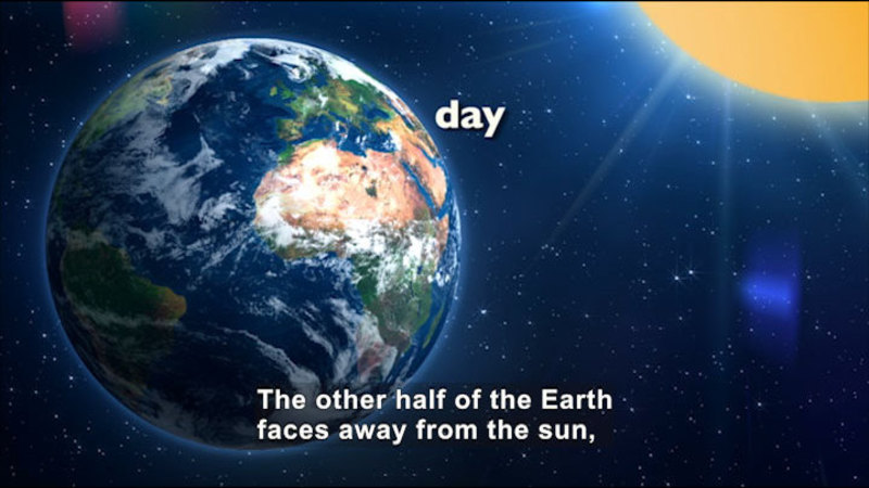 View of Earth from space. Caption: The other half of the Earth faces away from the sun,