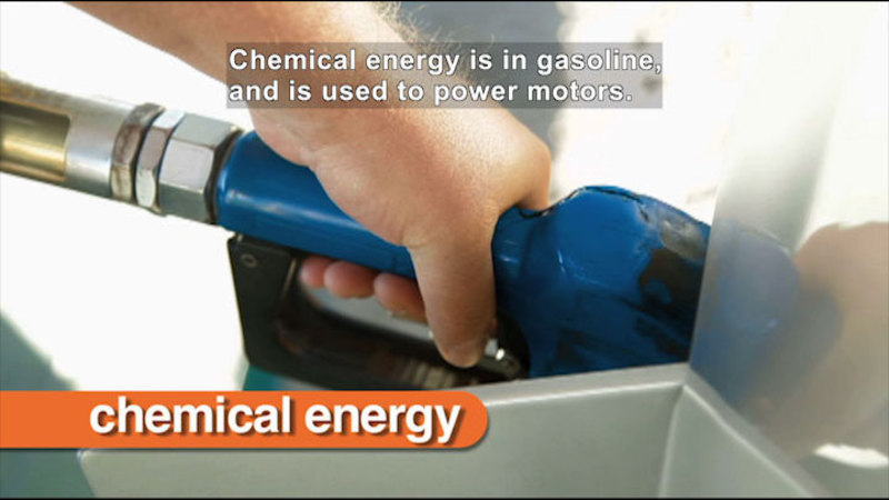 A hand pumping gas into a car. Caption: Chemical energy is in gasoline, and is used to power motors.