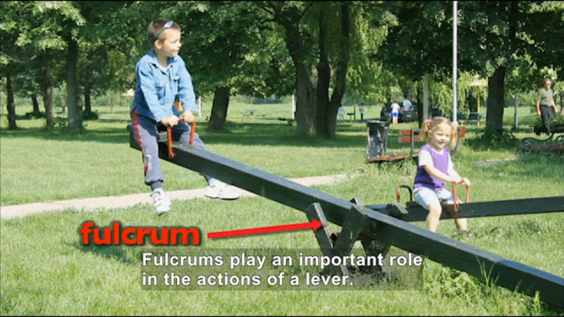 Two children on a teeter totter. Caption: Fulcrums play an important role in the actions of a lever.