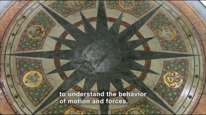 An old tile floor. Caption: to understand the behavior of motion and forces.