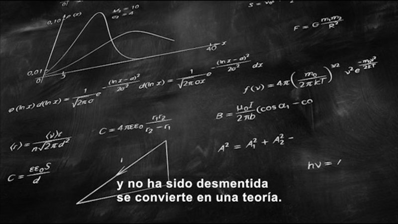 A chalkboard with math equations. Spanish captions.