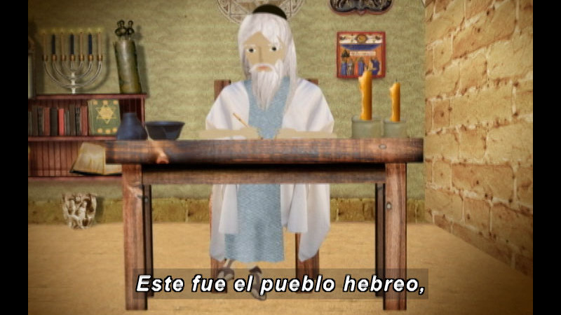 Still image from: The Time Compass: The Ancient Israelites (Spanish)