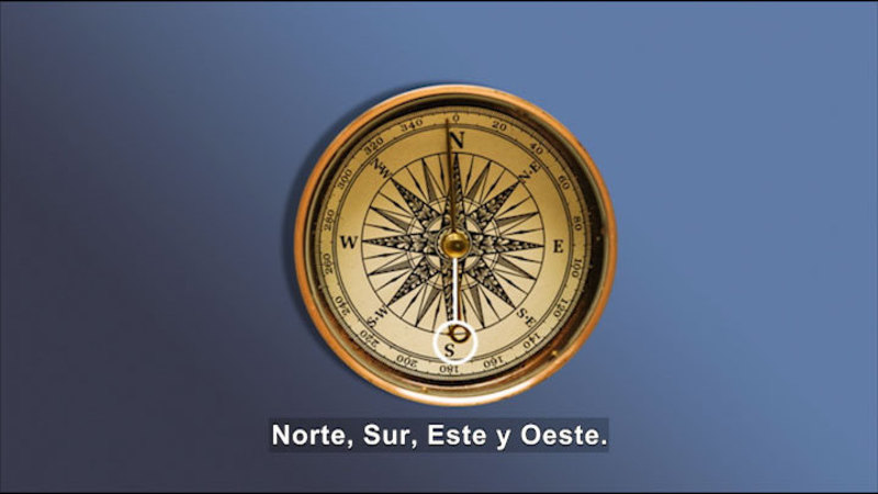 Compass pointing North. Spanish captions.