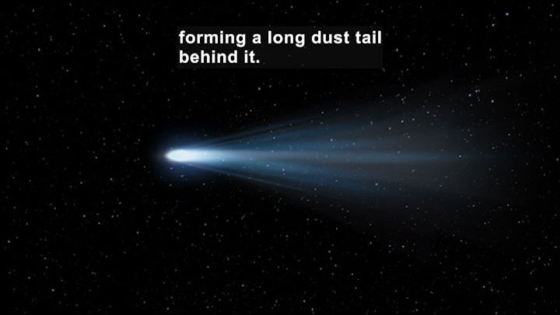 Comet shooting through space. Caption: forming a long dust tail behind it.