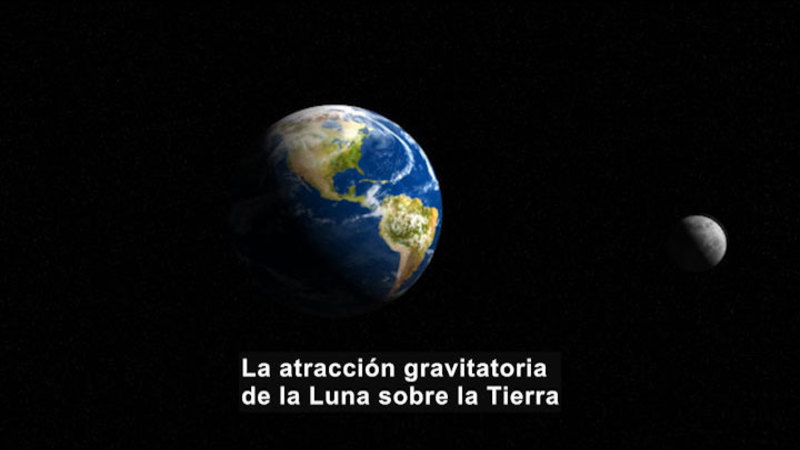 Earth and Moon in space. Spanish captions.