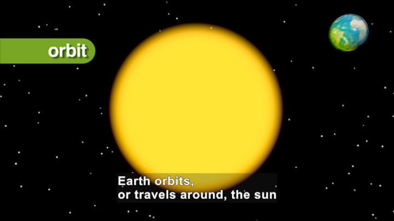 Close up image of the sun with the Earth in the background. Caption: Earth orbits, or travels around, the sun