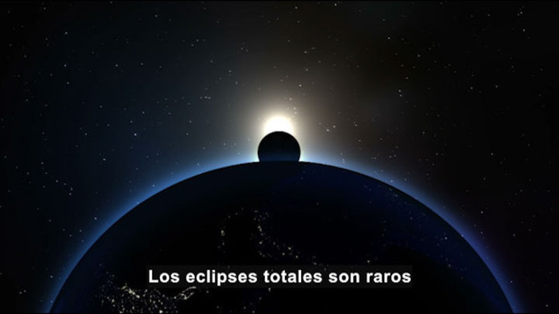 Still image from Science Video Vocab: Solar Eclipse (Spanish)