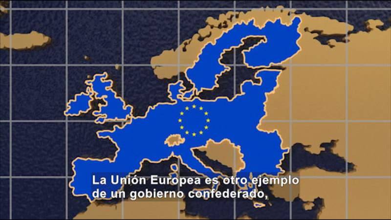 Still image from Social Studies Video Vocab: Confederal Government (Spanish)