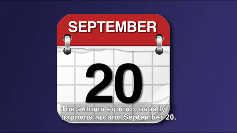 Calendar image of September 20th. Caption: The autumn equinox usually happens around September 20.