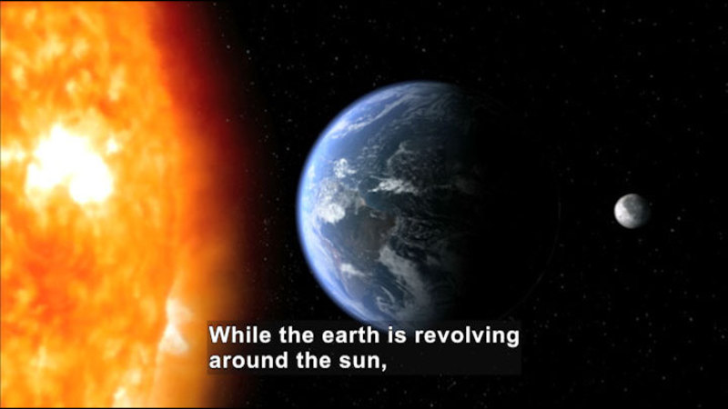 View of Earth from the Sun. Caption: While the earth is revolving around the sun,